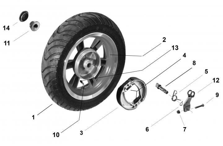 Детали заднего колеса скутера