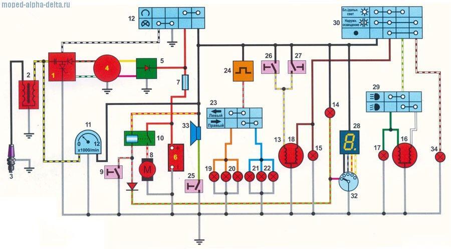 Схема проводки мопеда Альфа