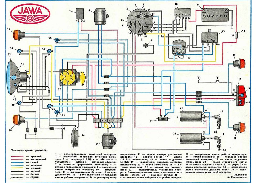 схема проводки мотоцикл ява 638